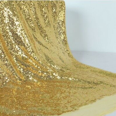 Gold Sequin Fabric Sparkly Shiny Bling Material Cloth 130cm Wide 1 1/2 Metre • 4.20£