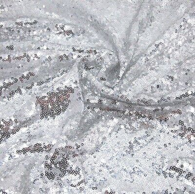 Silver Sequin Fabric Sparkly Shiny Bling Material Cloth 130cm Wide 1 1/2 Metre • 6.99£