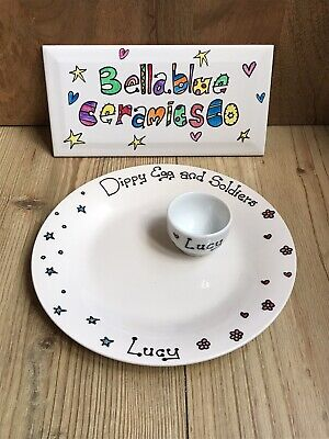 £8.50 • Buy Hand Painted Personalised Egg Cup & Plate, Dippy Egg And Soldiers. Easter Gift
