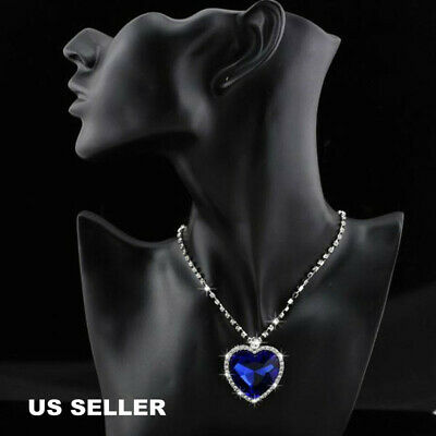 $8.99 • Buy NEW Titanic Heart Of The Ocean Sapphire Blue Crystal Necklace Pendant MEMORY Gif