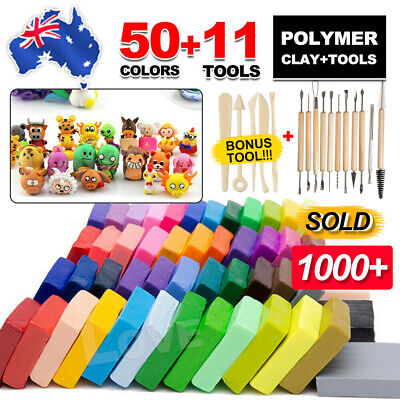 AU38.95 • Buy 50PCS DIY Craft Malleable Fimo Polymer Modelling Soft Clay Block Set With Tools