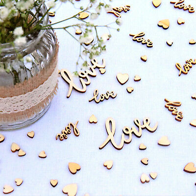 £5.75 • Buy Wedding Table Decorations | Rustic Small Wooden Hearts & Worded Love Confetti