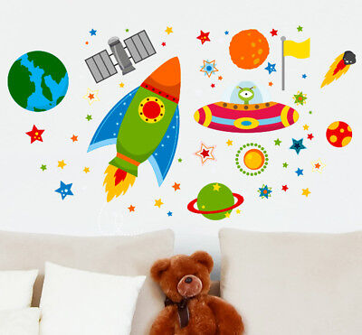 Rocket Space Ship Outta Space UFO Planets Learning Wall Stickers Kids Decals Car • 9.99£