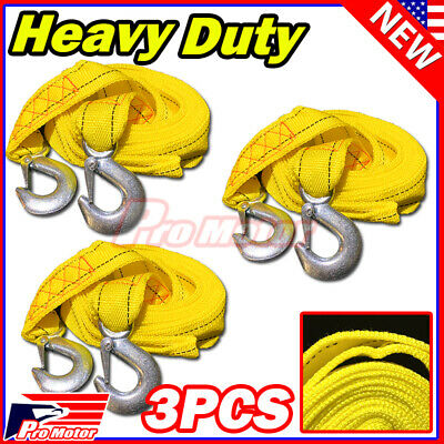 $16 • Buy 3 X 10FT (2  X 10') Yellow Rope Heavy Duty Tow Strap With Hook 6,600 Lb Capacity
