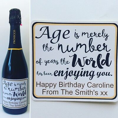 £2.35 • Buy Birthday Quote Personalised Prosecco/Champagne/Wine Bottle Sticker/label. Gift
