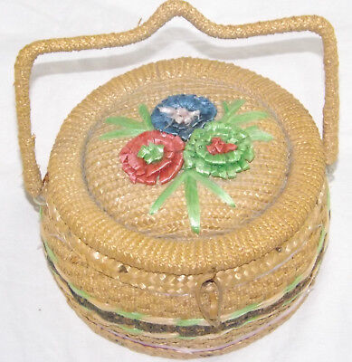Vintage Wicker Sewing Basket Haberdashery Whicker Handle Round Box Flowers • 12.25£