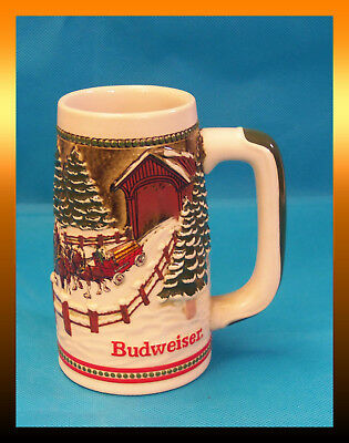 $ CDN32.66 • Buy Budweiser 1984 HOLIDAY Covered Bridge Beer Stein Mug W/ Clydesdale CS62 MINT 5th