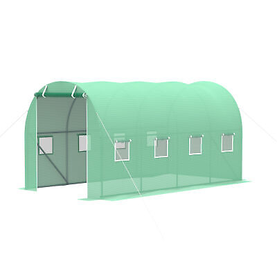Outsunny 4 X 2M Polytunnel Walk-in Garden Greenhouse With Zip Door And Windows • 74.99£