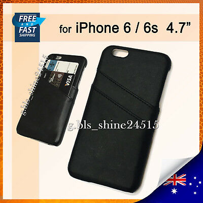 AU6.95 • Buy For Apple IPhone 6,6s Black Leather 2 Cards Hard Case Mobile Cover Pocket Holder