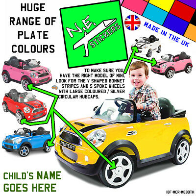 FRONT (+back?) Kids Number Plate For ROLLPLAY Electric 6v MINI Cooper S Car Toy • 0.99£