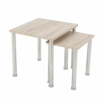Modern Oak Effect 2 Side End Tables Nest Of Tables Light Wood Finish Pair • 29.99£