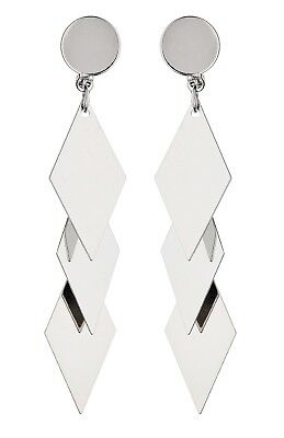 £11 • Buy Silver Clip On Earrings Drop Dangle With Three Linked Diamond Shapes - Kallie S