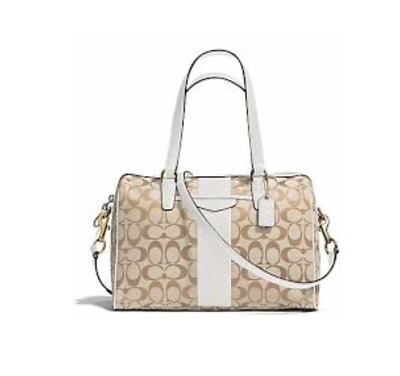 2b13ab9ea2 Coach F28505 Signature Stripe Nancy Satchel Handbag Crossbody Bag Khaki  Lvory • 129.00