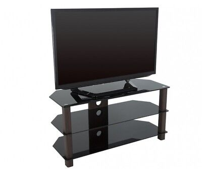 Black Glass & Walnut TV Stand Cabinet Cable Management LCD LED Up To 50  Inches • 45.99£