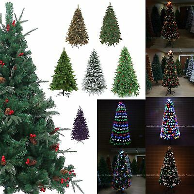 Artificial Christmas Tree Pre-Lit LED Fibre Optic Xmas Home Decorations 2ft-8ft • 29.99£