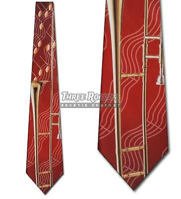$15 • Buy Trombone Ties Instrument Neckties Mens Music Notes Orchestra Band Neck Tie NWT