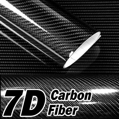 $7.80 • Buy 12  X 60  7D Premium Hi Gloss Black Carbon Fiber Vinyl Wrap Bubble Free Release
