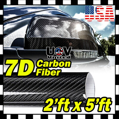 $12.73 • Buy 24  X 60  7D Premium Hi Gloss Black Carbon Fiber Vinyl Wrap Bubble Free Release