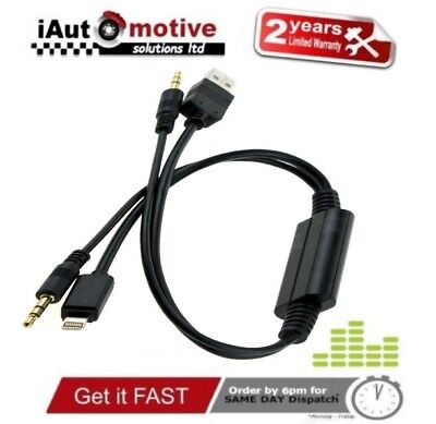 Bmw Mini IPod IPhone 5 6 S SE Plus Interface Audio USB Y Cable AUX Adaptor Lead • 11.79£