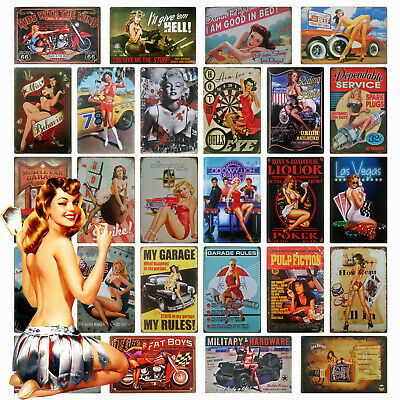 Sexy Pin Up Girl Metal Plaque Vintage Retro 40s 50s 60s Garage Man Cave Tin Sign • 4.65£