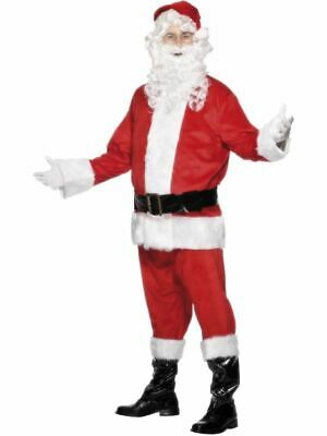 Mens Deluxe Santa Claus Father Christmas Suit Costume Fancy Dress Adults Outfit • 52.99£