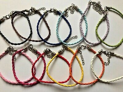 £2.75 • Buy Faux Leather Braided Bracelet Cords - Pack Of 5 - Choice Of Colour