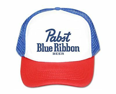 85d3a2db19e4e Pabst Blue Ribbon Beer Hat Script Trucker Hat Mesh Hat Red White Blue Party  Hat •