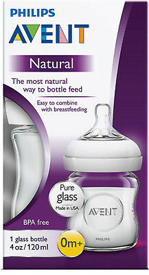 AU17.95 • Buy Avent Glass Natural Feeding Bottle 120ml Easy Clean Usa Or Uk Made Bpa Free