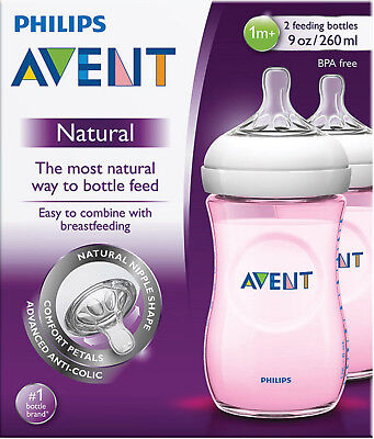 AU23.90 • Buy Philips Avent Natural Feeding Pink Baby Bottle 260ml 2 Pack Made In England Easy
