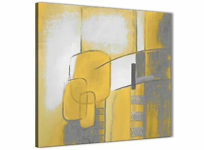 Mustard Yellow Grey Painting Bathroom Canvas Wall Art - Abstract 1s419s - 49cm • 24.99£