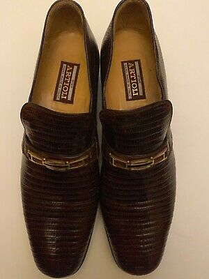 $ CDN264.77 • Buy Men $1,200 Artioli Brown100% Lizard Leather Loafers Shoes Sz 9.5 W/ Gucci Bag
