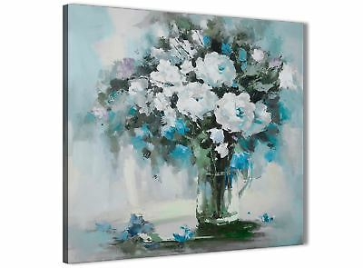 Teal White Flowers Painting Bathroom Canvas Wall Art - Abstract 1s440s - 49cm • 24.99£