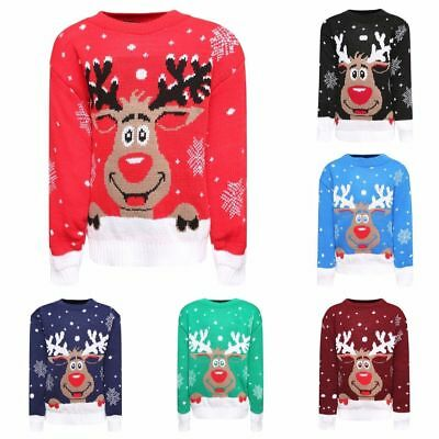 Kids Boys Girls Xmas Jumper Rudolph Reindeer Snowflakes Christmas Jumpers Unisex • 8.99£