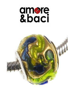 £14.99 • Buy AMORE & BACI 925 Sterling Silver GOLD BLUE GREEN LARGE MURANO Charm Bead