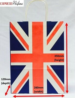 £12.60 • Buy Union Jack, Uk, British Themed Paper Carrier Bags, Gift Bags Pack Of 20