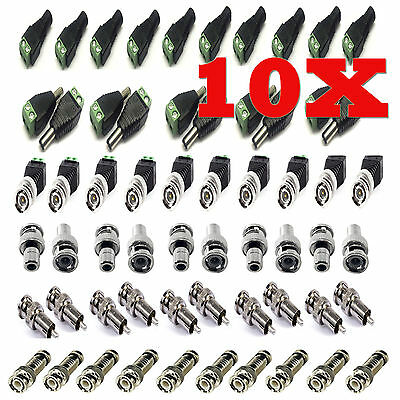 10x Cat5 Utp To Coaxial Camera Cctv Tv Power Video Balun Bnc Cable Connectors  • 2.49£