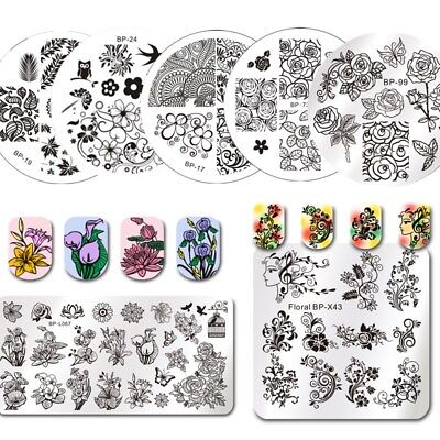 $1.52 • Buy Born Pretty Metal Nail Art Stamping Plates Plant Flowers Design Image Templates