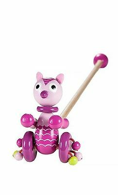 Mousehouse Kids Push Along Wooden Toy Cute Pink Owl For Baby Todder Girls • 12.99£