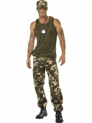 Mens Camouflage Costume Army Military Soldier Armed Forces Fancy Dress Outfit • 43.99£