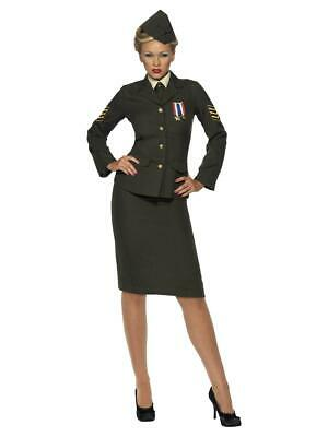 Womens Ladies 40s WW2 Wartime Officer Army Uniform Military Fancy Dress Costume • 48.99£