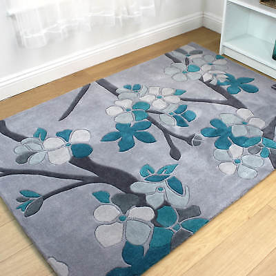 Modern Contemporary Eternity Sakura Hand Carved Floral Design Teal Blue Rug • 128.95£