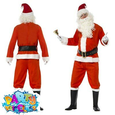 Deluxe Santa Claus Costume Adult Father Christmas Mens Xmas Fancy Dress Outfit • 23.99£