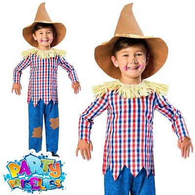Boys Scarecrow Costume Child Fancy Dress Kids Book Day Wizard Of Oz Outfit • 10.49£