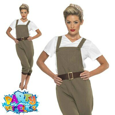 WW2 1940's Land Girl Costume Ladies Munitions Fancy Dress Army Outfit UK 8-18 • 17.99£