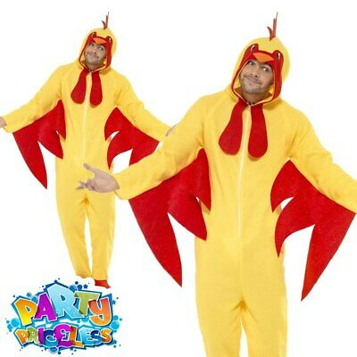 Chicken Jumpsuit One Piece Adult Costume Farm Bird Unisex Fancy Dress Outfit New • 19.99£