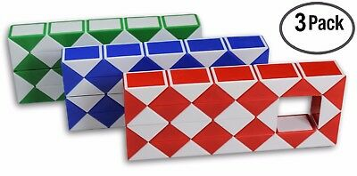 $11.99 • Buy LARGE Speed Cube Magic Snake Ruler Twist Puzzle 36 Wedges Twist Toys 3 Pack!