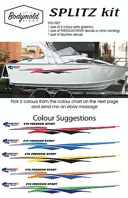 AU180 • Buy Quintrex Freedom Boat Decals And Graphics  SPLITZ Kit  2200mm  Long