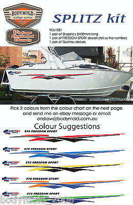AU158 • Buy Quintrex Freedom Boat Decals And Graphics  SPLITZ Kit  2400mm Long