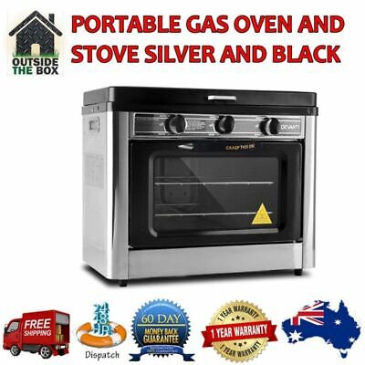 AU370.10 • Buy Portable Gas Oven Outdoor Camping 2 Burner Stove Silver & Black 1 YEAR WARRANTY