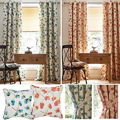 Tula Floral Print Lined Eyelet Ring Top Curtains (Pair Of) Ready Made • 13.50£